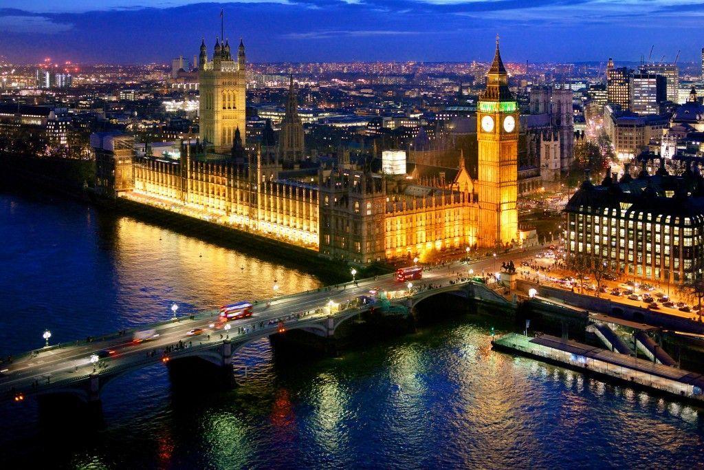 Vista aérea del Parlamento, Londres