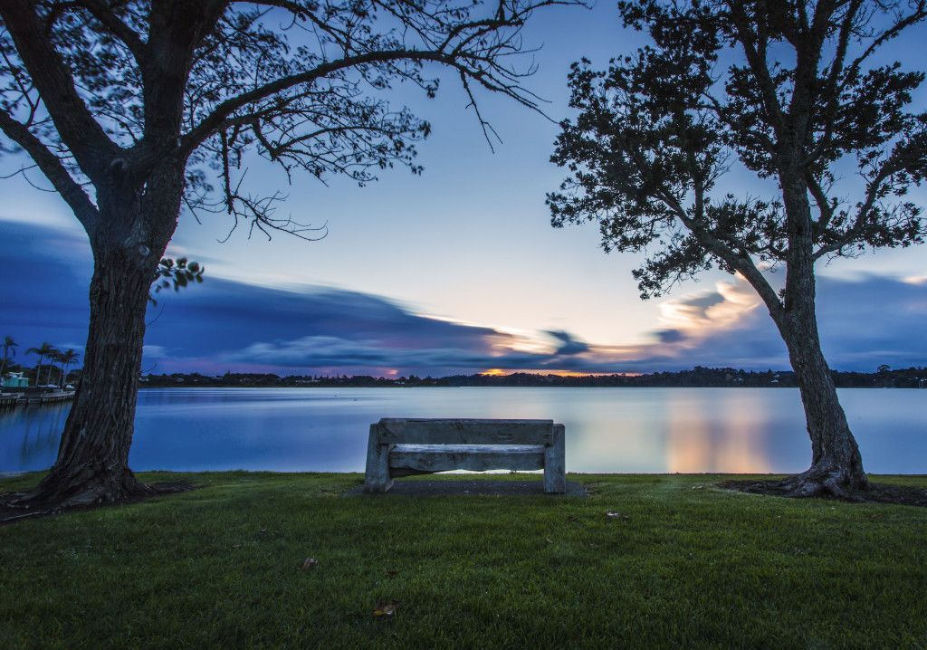 Park bench at sunset, Herald Island