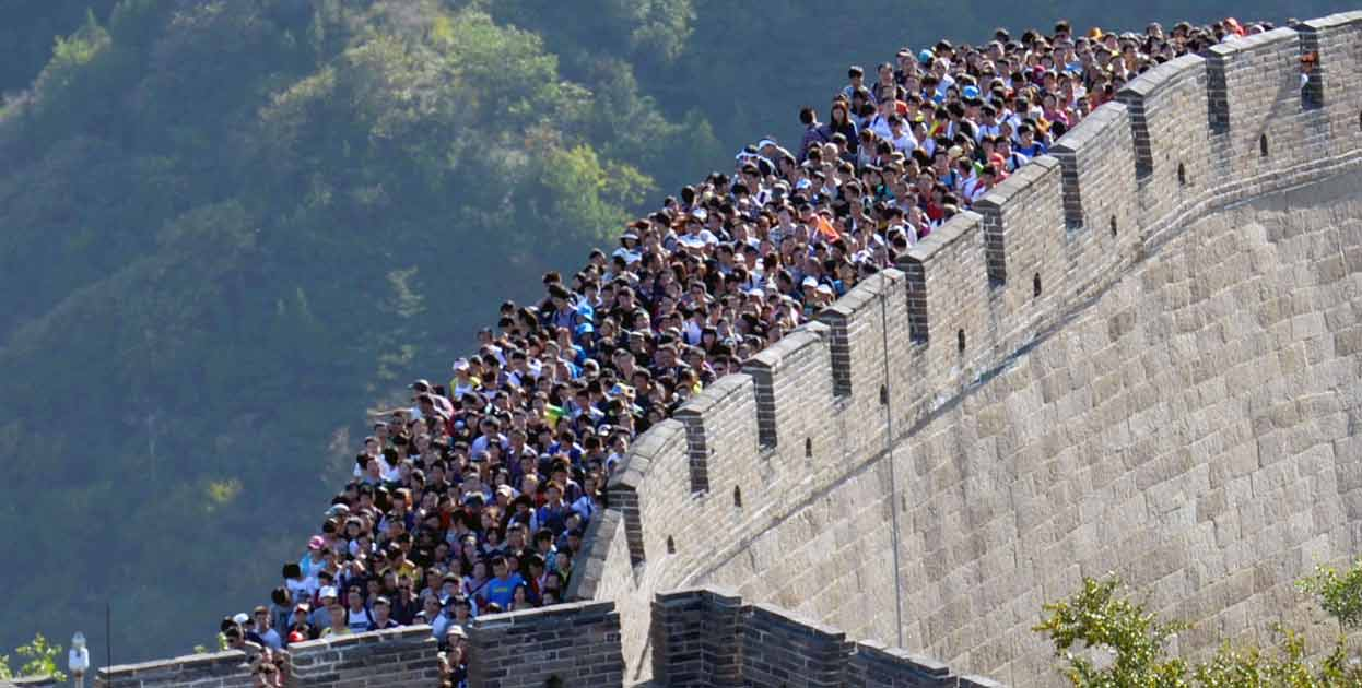 Muralla China llena de gente