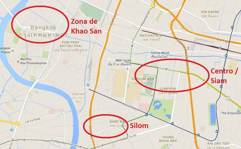 Mapa de zonas recomendables para alojarse en Bangkok