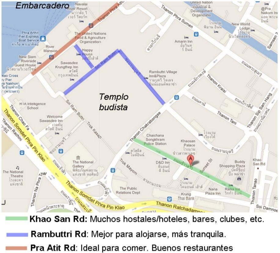 Mapa de Khao San, una de las zonas preferidas por mochileros para alojarse en Bangkok